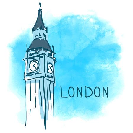 ben: World famous landmark series: Big Ben, London, England. Watercolor vector illustration.