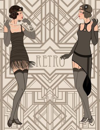 great: Flapper girl: Retro party invitation design template. Vector illustration.