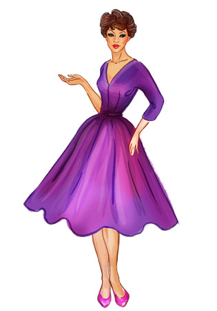 full length portrait: Pretty retro sexy pinup girl in a purple new look style dress displaying something. Illustration isolated on white. Full length vector portrait.