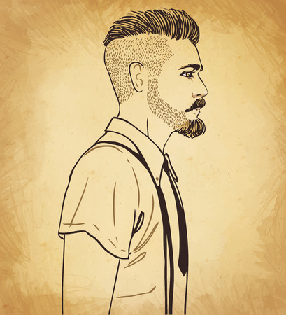 tshirts: Portrait of stylish fashion bearded man. Vector illustration.