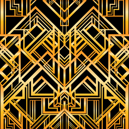 lines pattern: Vintage background. Retro style seamless pattern in gold and white. 1920s
