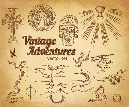 braqueur: Vintage Adventures: Vector set. Les �l�ments de conception