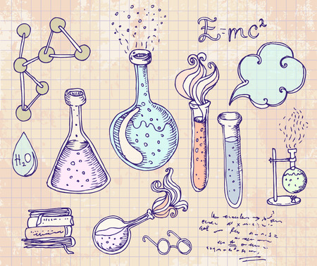 chemistry lab: Back to School: science lab objects doodle vintage style sketches set, vector illustration.