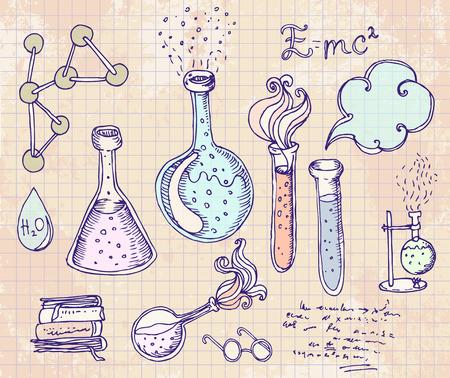 laboratorio: Volver a la escuela: objetos de laboratorio de ciencias del doodle de bocetos de estilo vintage establecidos, ilustraci�n vectorial.