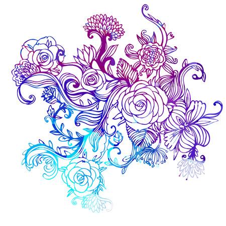 floral corner: Floral ornate pattern with roses. Vector illustration.
