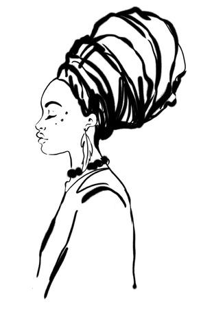 Portrait de la belle femme africaine avec boucle d'oreille (vue de profil)