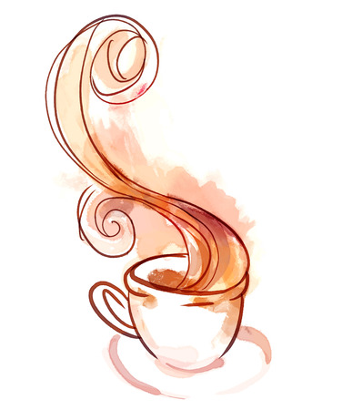 cappuccino: Cup of tea of coffee. Watercolor illustration isolated on white. Illustration