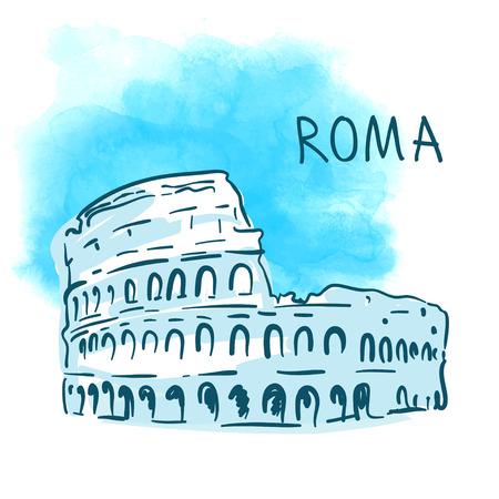 rome italie: Monde c�l�bre s�rie de point de rep�re: Colis�e, � Rome, en Italie. Aquarelle illustration vectorielle.