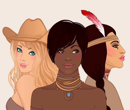 skin color: American beauty: 3 beautiful young women from different ethnic groups of Caucasian, African American and Indian American. Vector illustration.