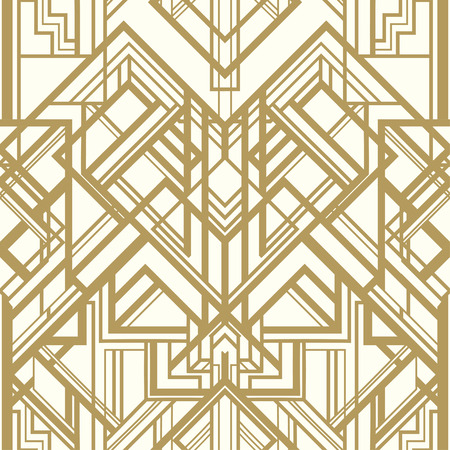 great: Vintage background. Retro style seamless pattern in gold and white. 1920s