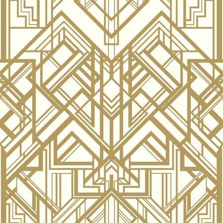 Weinlesehintergrund. Retro-Stil nahtlose Muster in Gold und Weiß. 1920 Illustration