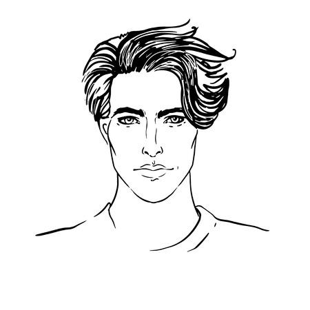 Branché. Vecteur d'un visage d'homme à la barbe Illustration