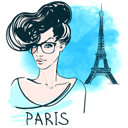 retro fashion: Cute young french woman in eyeglasses on watercolor background with Eiffel Tower. Vector illustration.