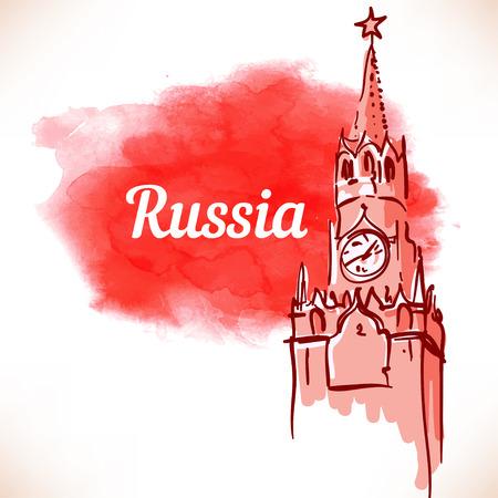 landmark: World famous landmark series: Kremlin, Red Square, Moscow, Russia. Watercolor vector illustration. Illustration