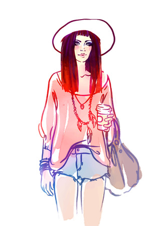 informal clothing: Urban street style: Pretty hipster girl with pink hair holding coffee cup portrait isolated on white background, sketchy style fashion vector illustration