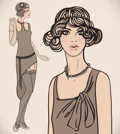 flapper: Conjunto chica de la aleta: mujeres retro de los a�os veinte. Ilustraci�n del vector. Vectores
