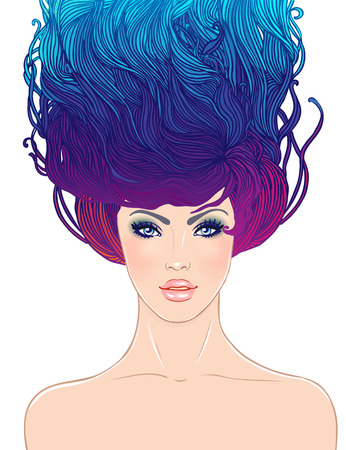 sensual: Vector portrait of a young beautiful girl with abstract watercolor and floral hair isolated on white. Beauty salon or spa concept.