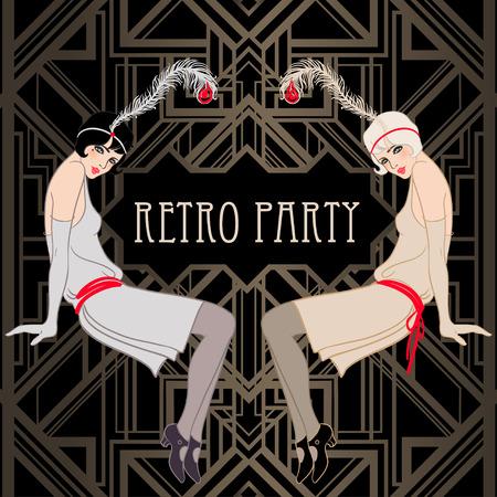 Flapper girl: Retro party invitation design template. Vector illustration.