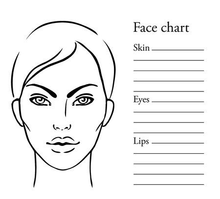 makeup artist: Face chart Makeup Artist Blank. Template. Vector illustration.