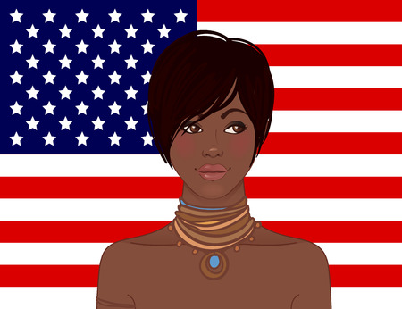 national women of color day: American beauty: Beautiful African American young woman with American flag on a background. Vector illustration.