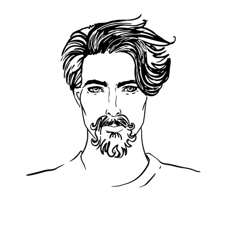 line drawing: Hipster. Vector of a man face with beard