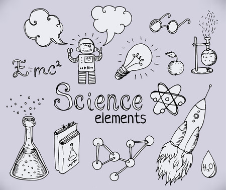 knowledge: Back to School: science lab objects doodle vintage style sketches set, vector illustration.