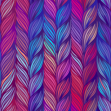 knit: Seamless pattern of braids. endless stylish texture Illustration