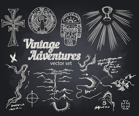 jones: Vintage Adventures: vector set. Design elements