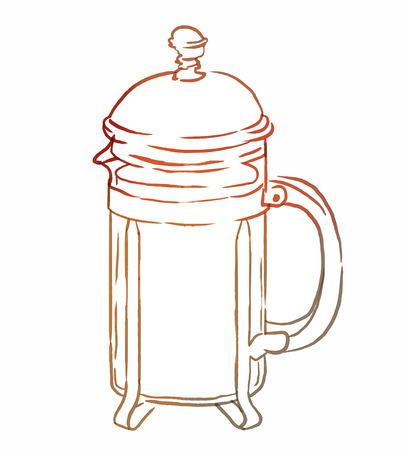 French press with coffee or tea, watercolor illustration