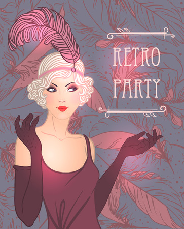 Flapper girl: Retro party invitation design template. Vector illustration. Stock fotó - 43028073