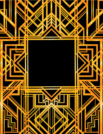 gold age: Vintage background. Retro style seamless pattern in gold and white. 1920s