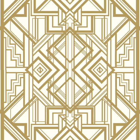 20 s: Vintage background. Retro style seamless pattern in gold and white. 1920s