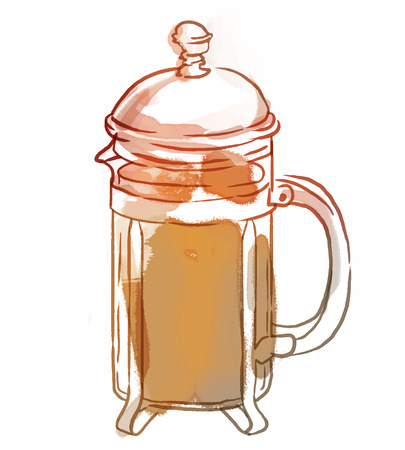 french: French press with coffee or tea, watercolor illustration