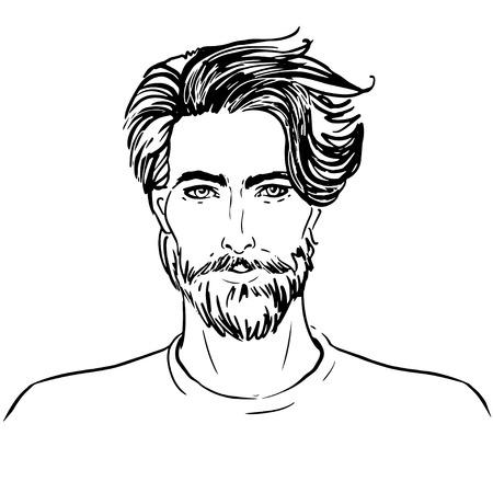 流行に敏感。ひげの男顔のベクトル  イラスト・ベクター素材