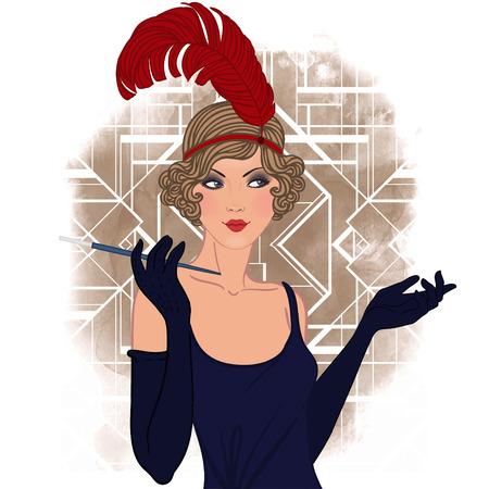 smocking: Flapper girl set: retro women of twenties. Vector illustration. Illustration