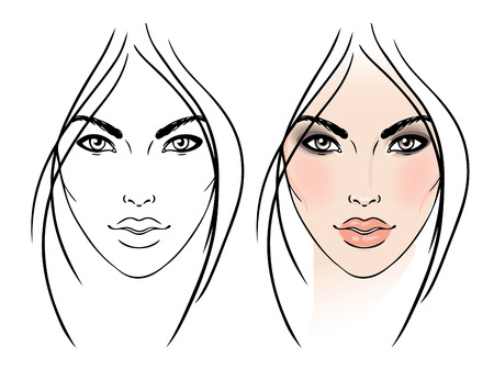 blue eyes: Face chart Makeup Artist Blank. Template. Vector illustration.