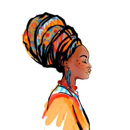 perfil de mujer rostro: Retrato de la hermosa mujer africana con el pendiente (ver perfil)