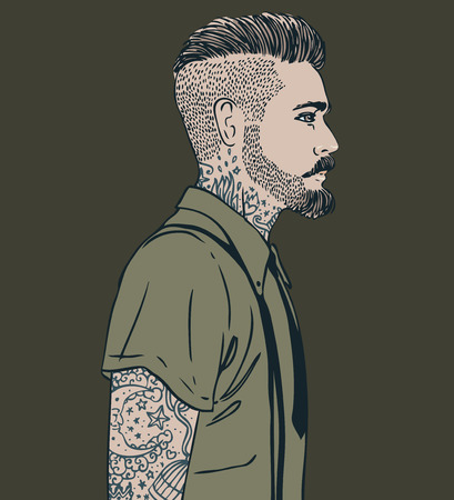 bearded man: Portrait of stylish fashion bearded man. Vector illustration.