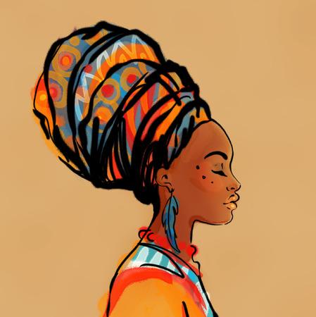 귀걸이와 아름다운 아프리카 여자의 초상화 (프로필보기)