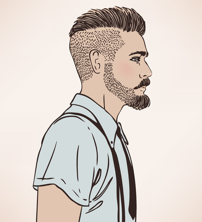 young men: Portrait of stylish fashion bearded man. Vector illustration.