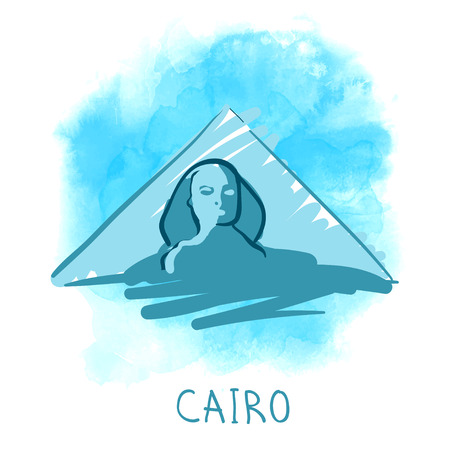 khafre: World famous landmark series: Pyramids and Sphinx, Cairo, Egypt. Watercolor vector illustration.