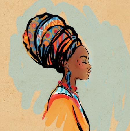 femme africaine: Portrait de la belle femme africaine avec boucle d'oreille (vue de profil)
