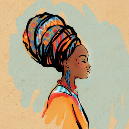 folk art: Portrait of beautiful African woman with earring (profile view)