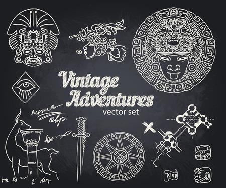 adventures: Vintage Adventures: vector set. Design elements