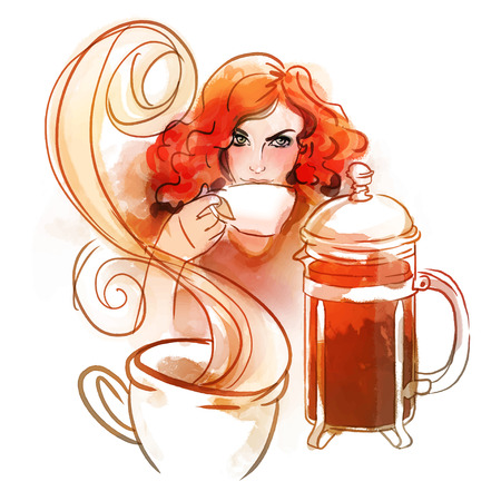redhead girl: Beautiful redhead girl drinking morning hot coffee or tea. Watercolor illustration. Illustration