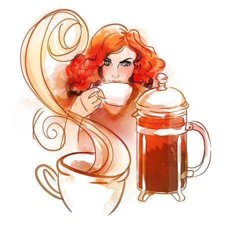 wake up happy: Beautiful redhead girl drinking morning hot coffee or tea. Watercolor illustration. Illustration