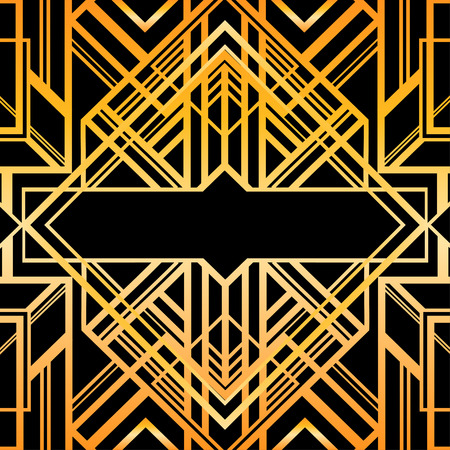 Vintage background. Retro style seamless pattern in gold and white. 1920s