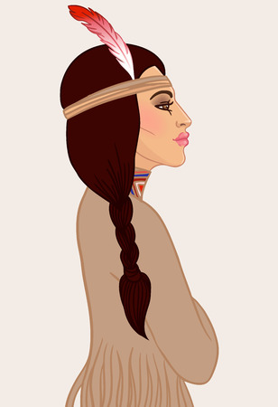 indian warrior: American beauty: beautiful American Indian woman with braided hair and feather. Vector illustration.