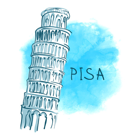 leaning tower of pisa: World famous landmark series: The Leaning Tower, Pisa, Italy, Europe. Watercolor vector illustration. Illustration