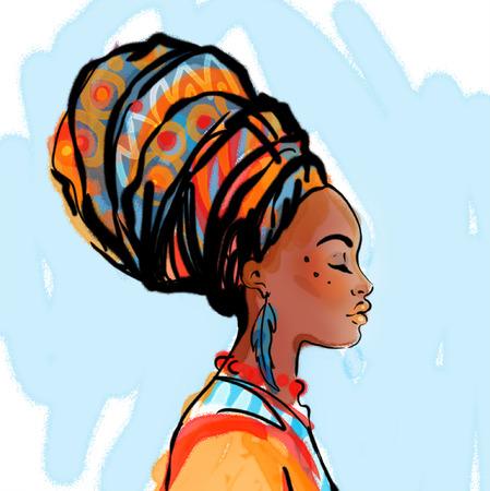 tribales: Retrato de la hermosa mujer africana con el pendiente (ver perfil)